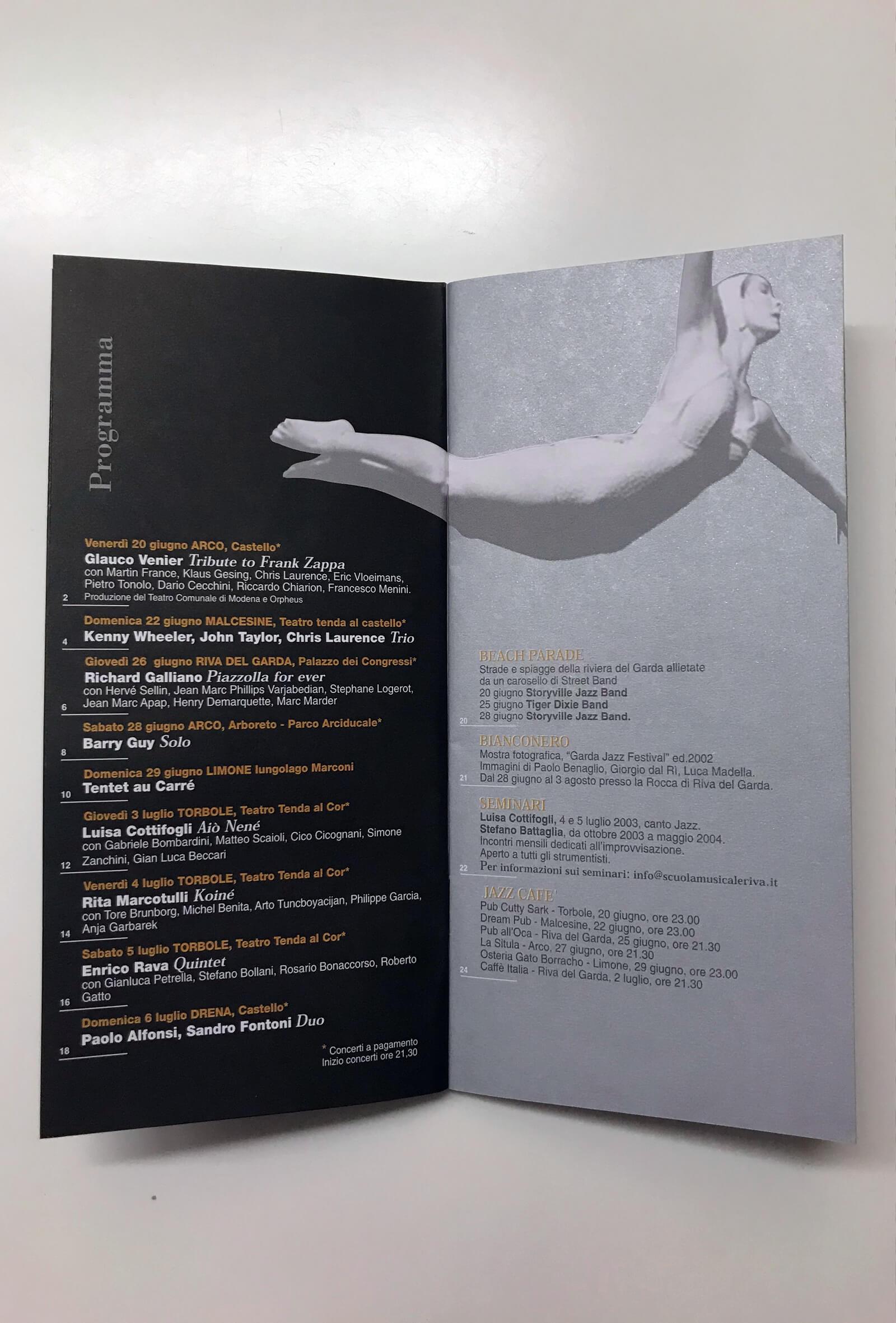 pagine interne del pieghevole programma eventi per garda jazz festival, progettato dallo studio grafico diade arco di trento
