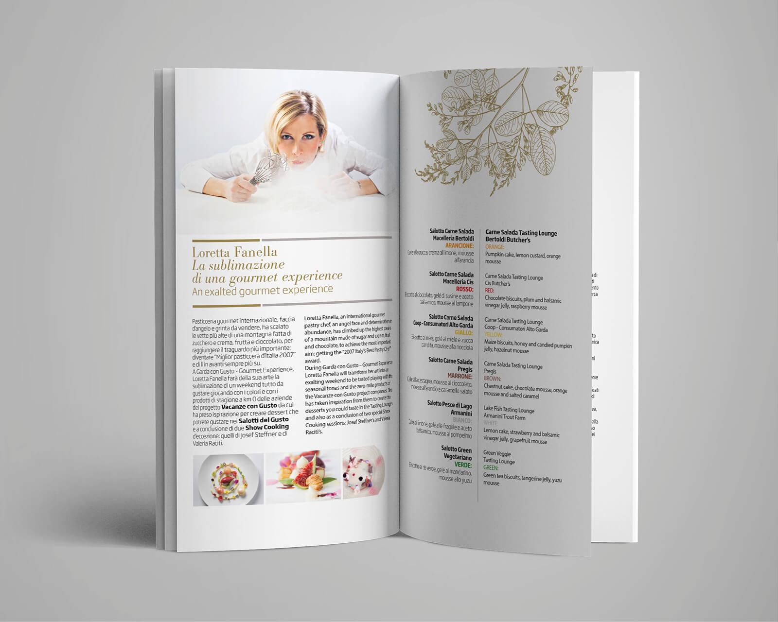 pagine interne del depliant programma garda con gusto, per promuovere gli eventi della rassegna, progetto grafico della brochure e dell'immagine coordinata a cura dello studio grafico diade arco di trento