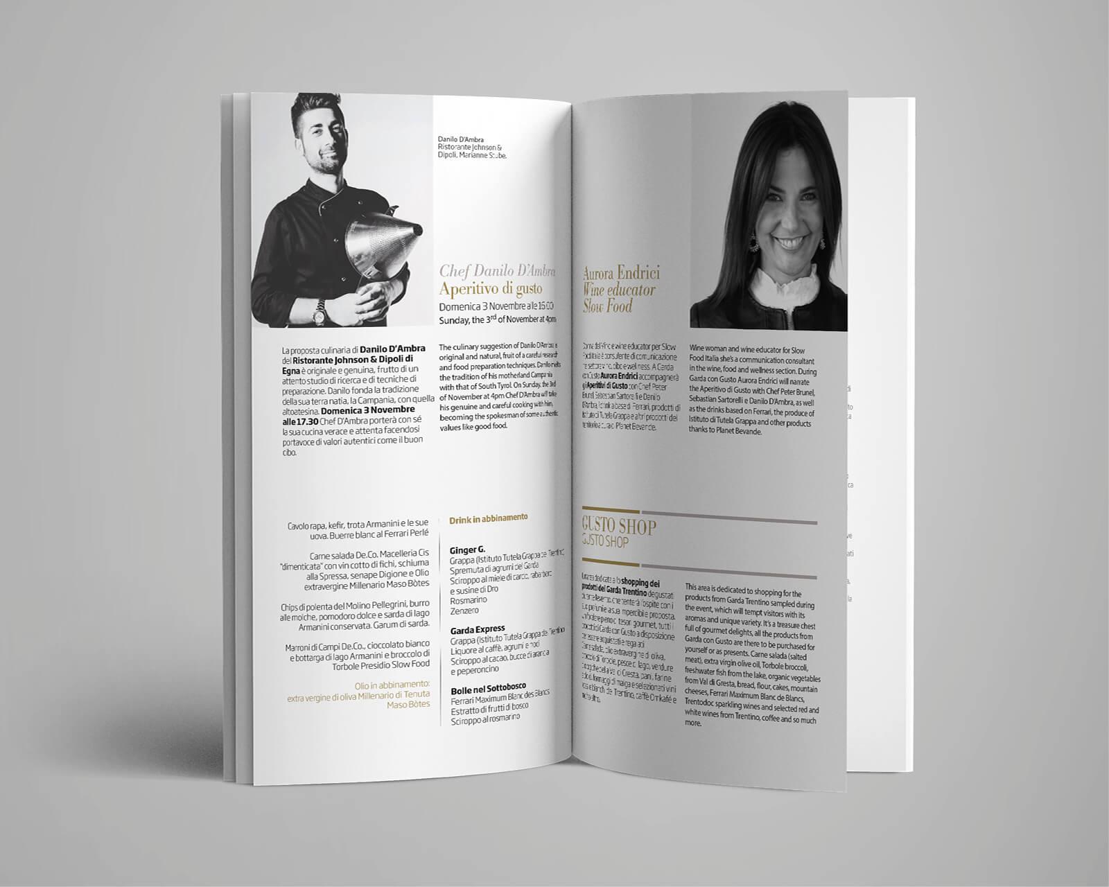 pagine interne del depliant programma garda con gusto, per promuovere gli eventi della rassegna, progetto grafico della brochure e dell'immagine coordinata a cura della agenzia grafica diade arco di trento