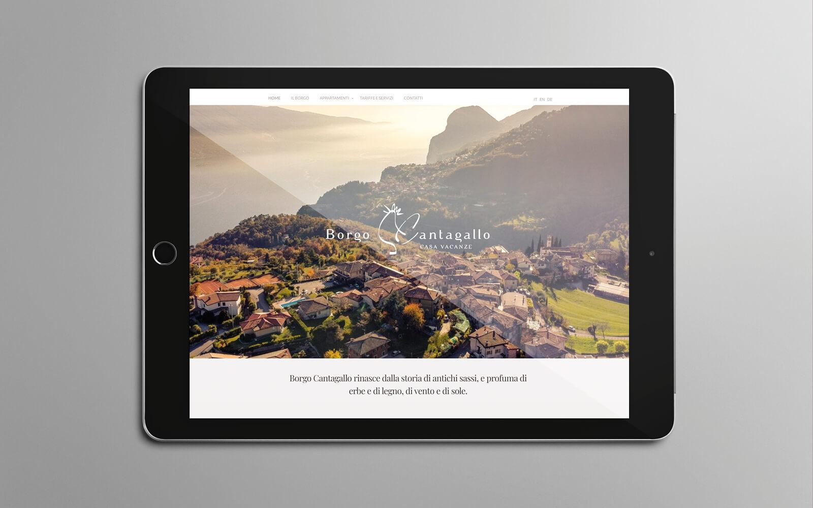 progetto grafico per il sito web responsive Borgo Cantagallo, progettato dall'agenzia di pubblicità Diade studio di Arco