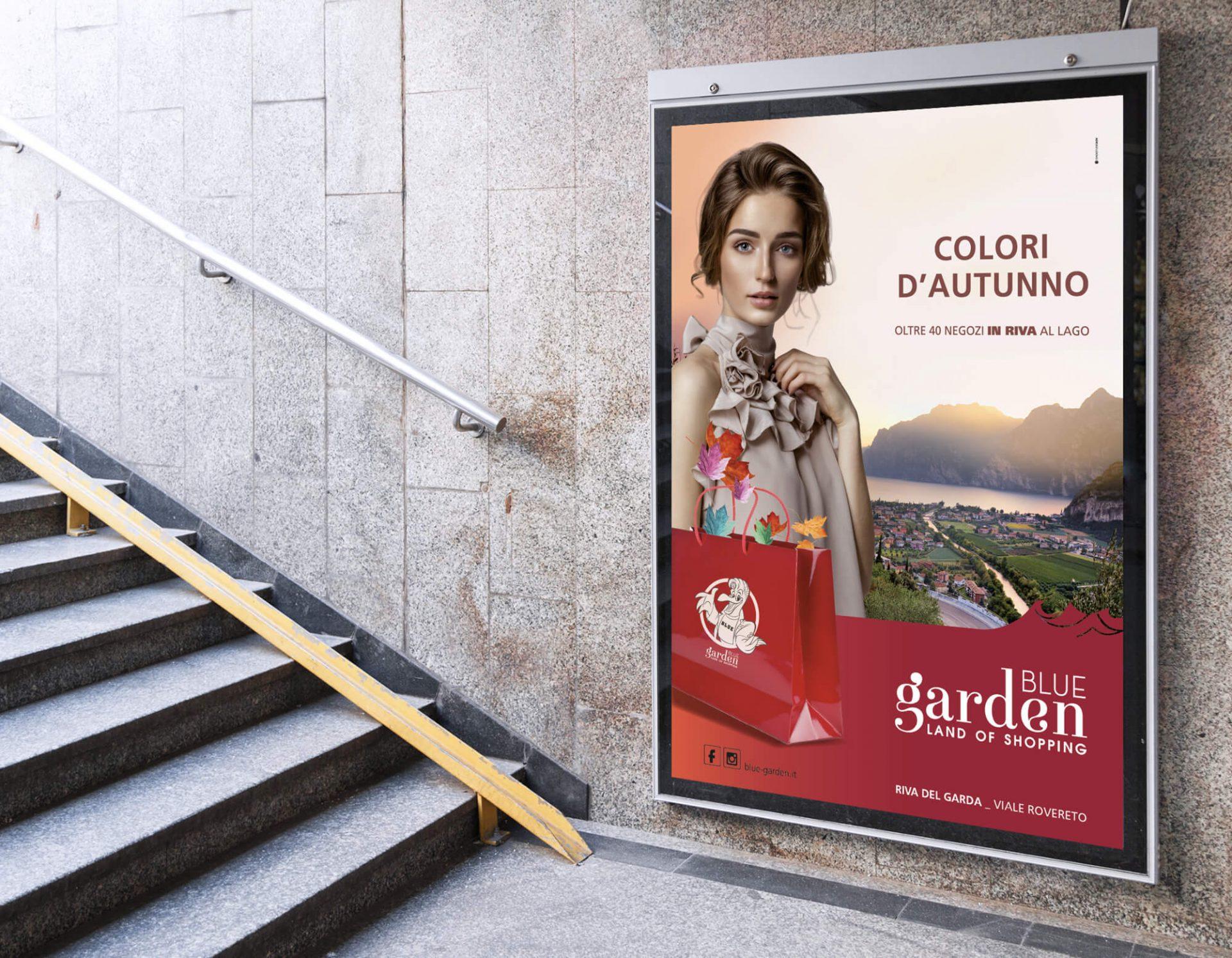 centro commerciale blue garden, poster per la campagna autunno inverno ideato dalla agenzia di comunicazione diade arco trento