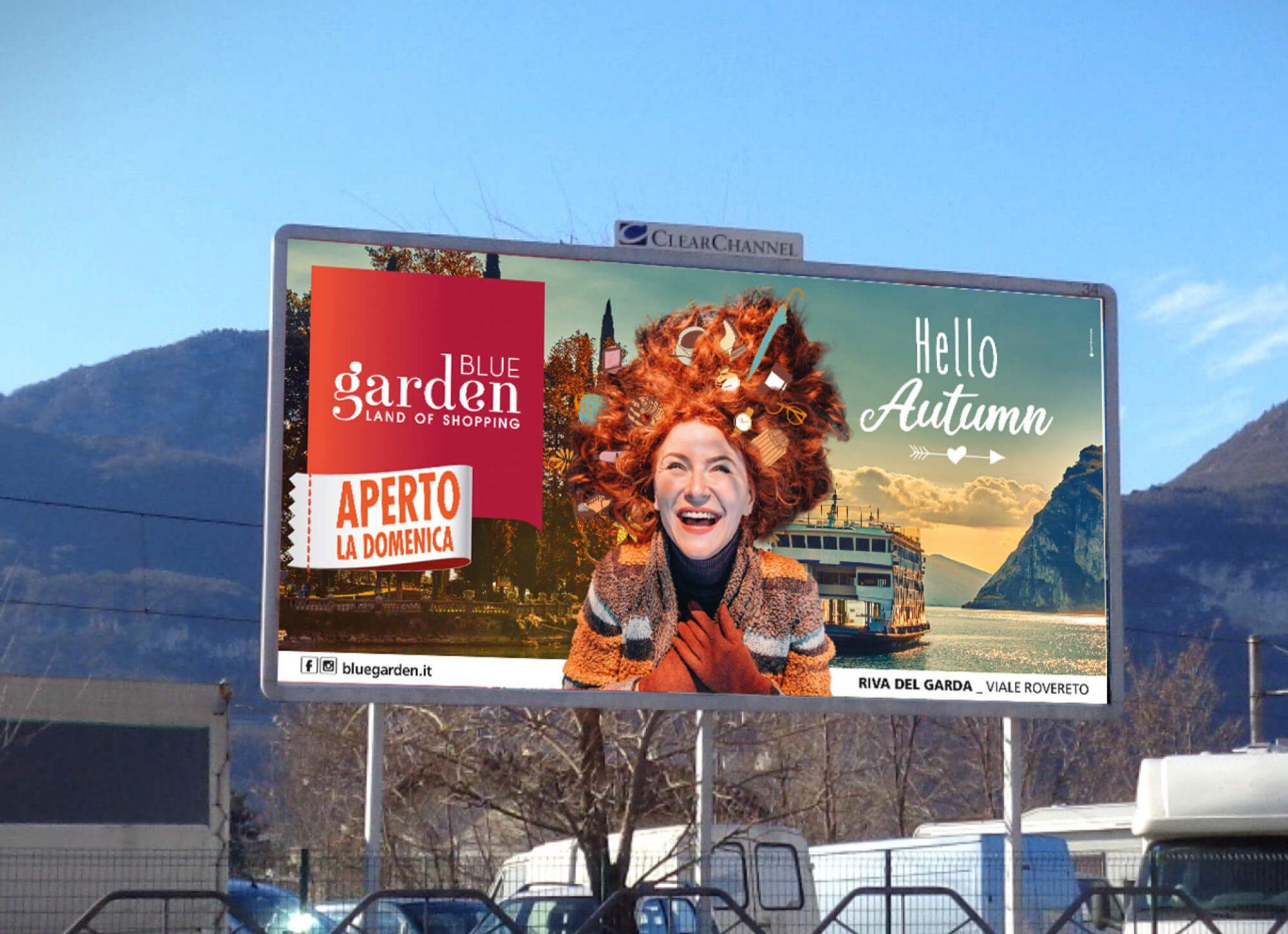 illustrazione maxiposter campagna nuovi arrivi di autunno blue garden riva del garda, progetto agenzia di pubblicità diade studio grafico arco di trento