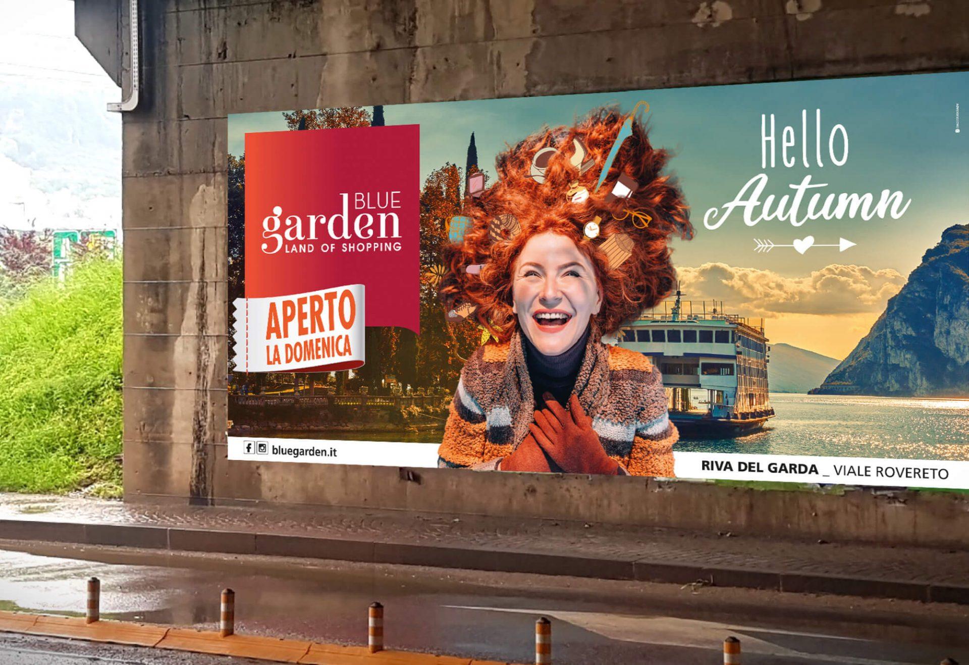 progetto maxiposter stradale per la campagna autunnale del centro commerciale blue garden riva del garda, progettato dalla agenzia di pubblicità diadestudio arco di trento