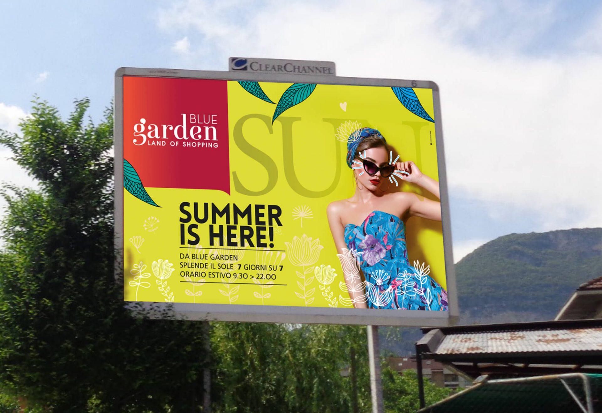 maxiposter per la campagna estiva centro commerciale blue garden riva del garda, progettato dalla agenzia di pubblicità diadestudio arco di trento