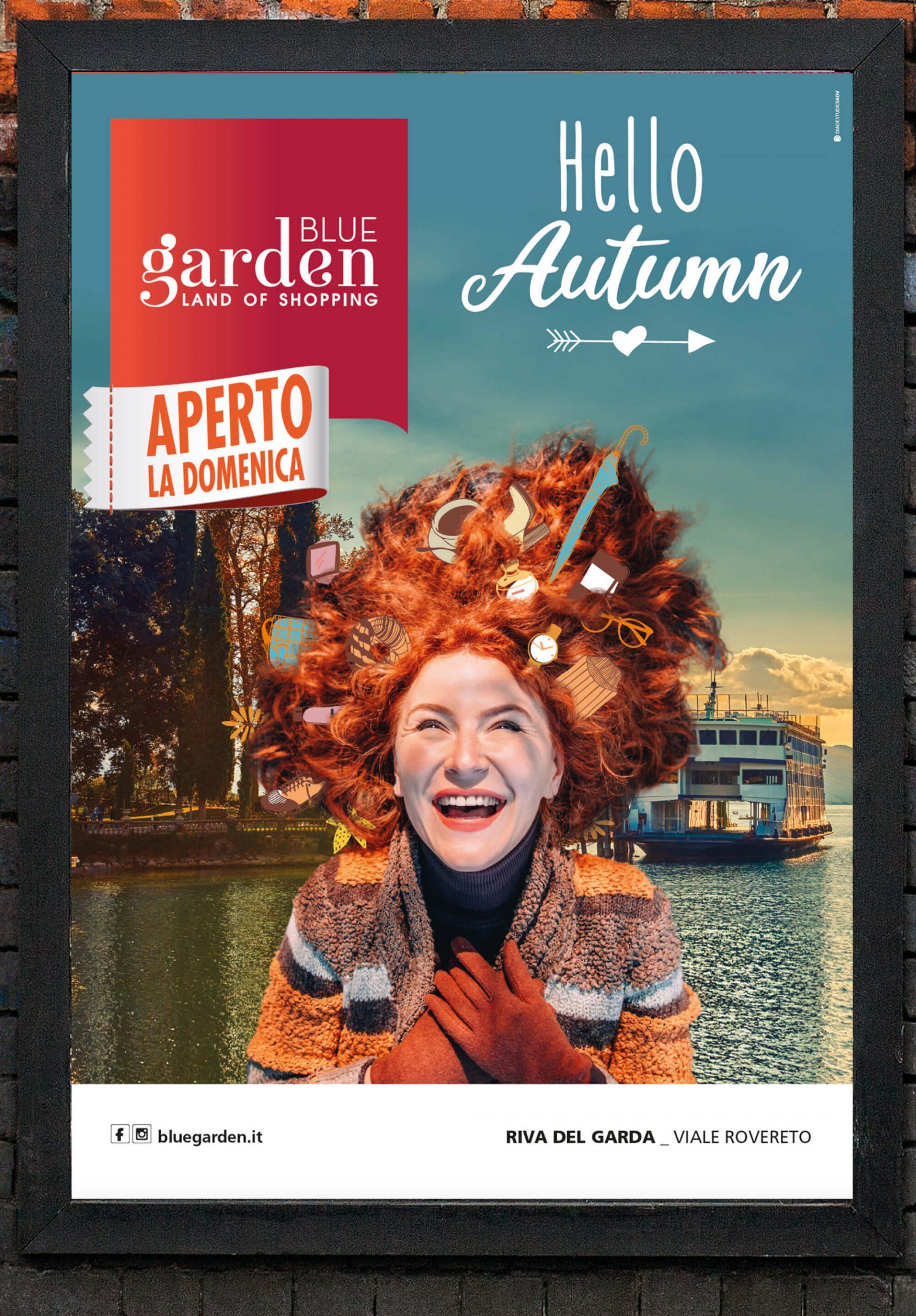illustrazione poster campagna nuovi arrivi di autunno blue garden riva del garda, progetto agenzia di pubblicità diade studio grafico arco trento