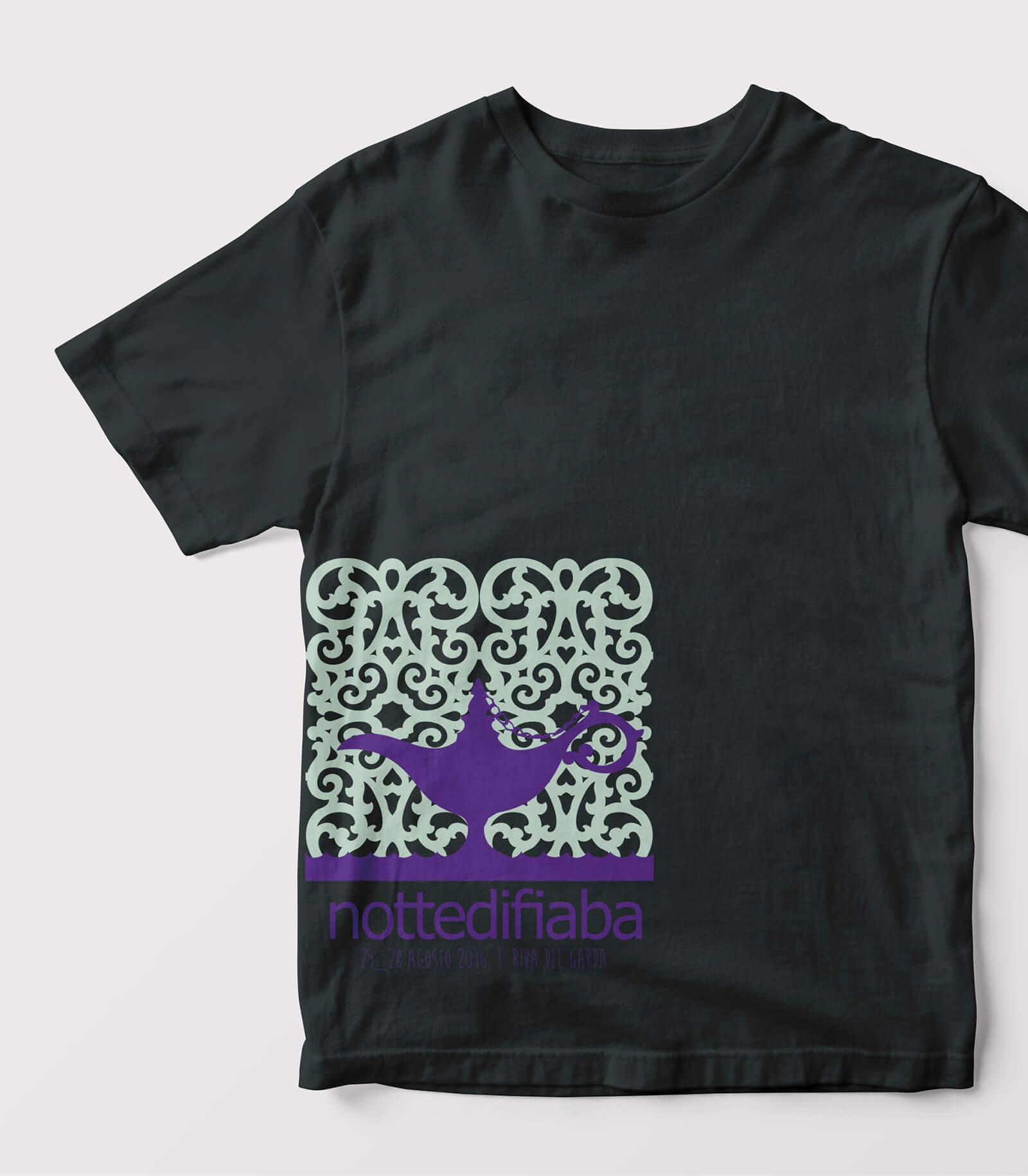 progetto per t-shirt illustrata notte di fiaba-aladino, stampata sul fronte, illustrazione diadestudio arco trento