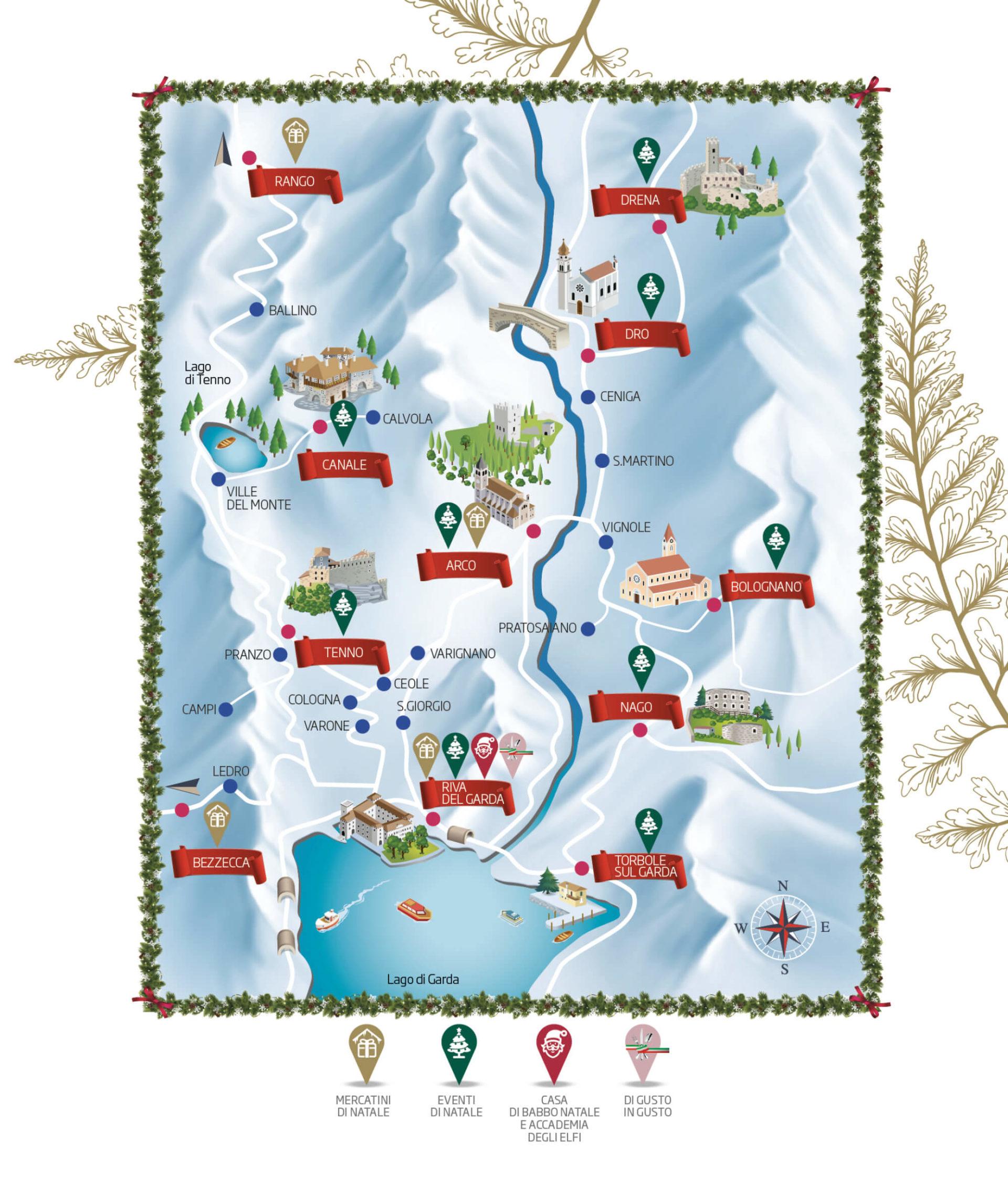 progetto per cartina mappa turistica a tema natalizio, creata da diade studio di comunicazione arco di trento