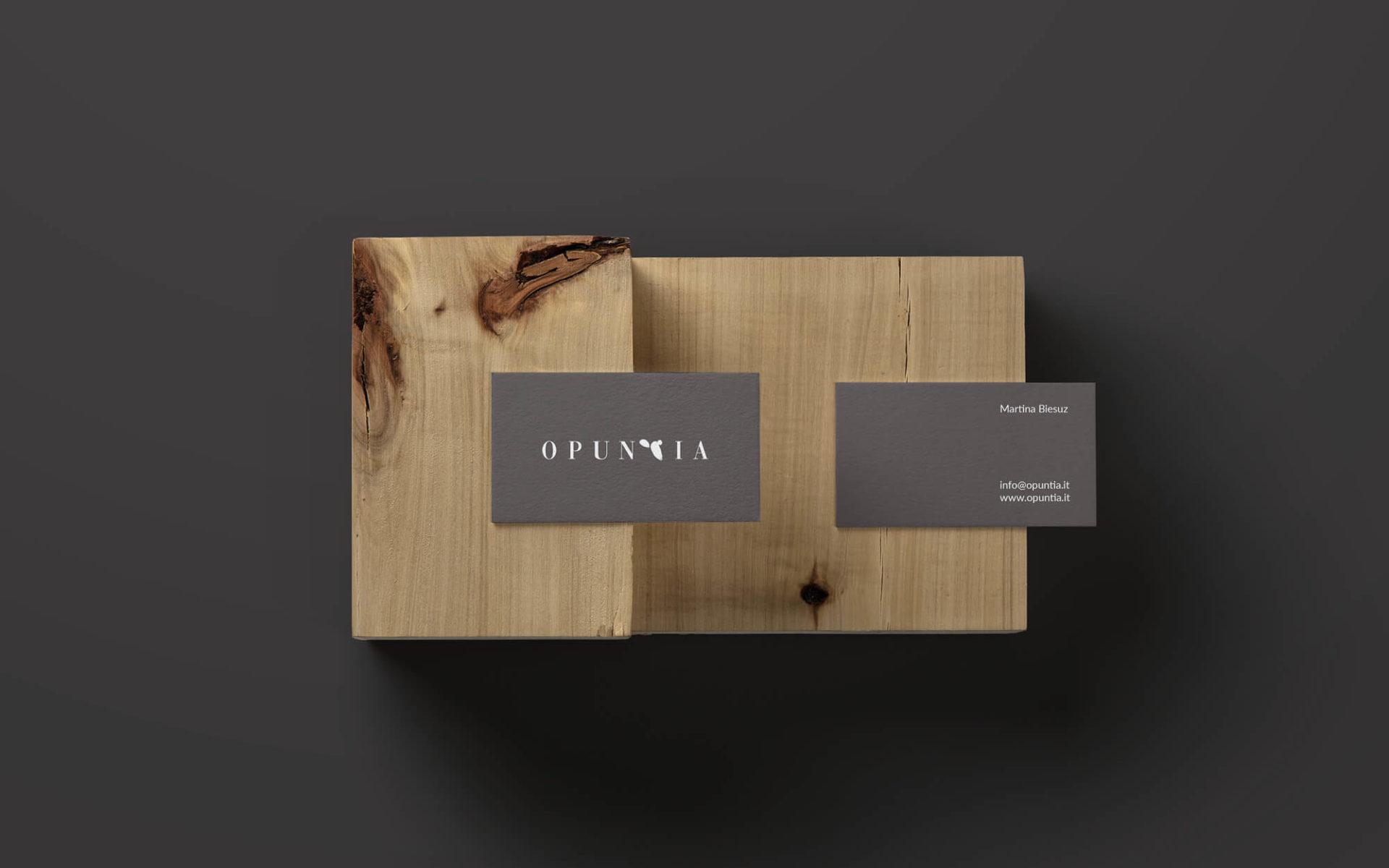 progetto per biglietto da visita Opuntia i giardini di Martina, studio grafico Diade, Arco Tn